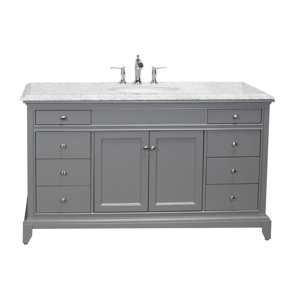 "Elite Stamford 60"" Gray Single Sink Bathroom Vanity w/ Double Ogee Edge White Carrara Top. Picture 1"