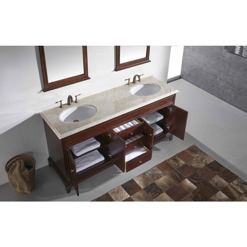 "Elite Stamford 60"" Teak Double Sink Bathroom Vanity w/ Double Ogee Edge Crema Marfil Top. Picture 3"