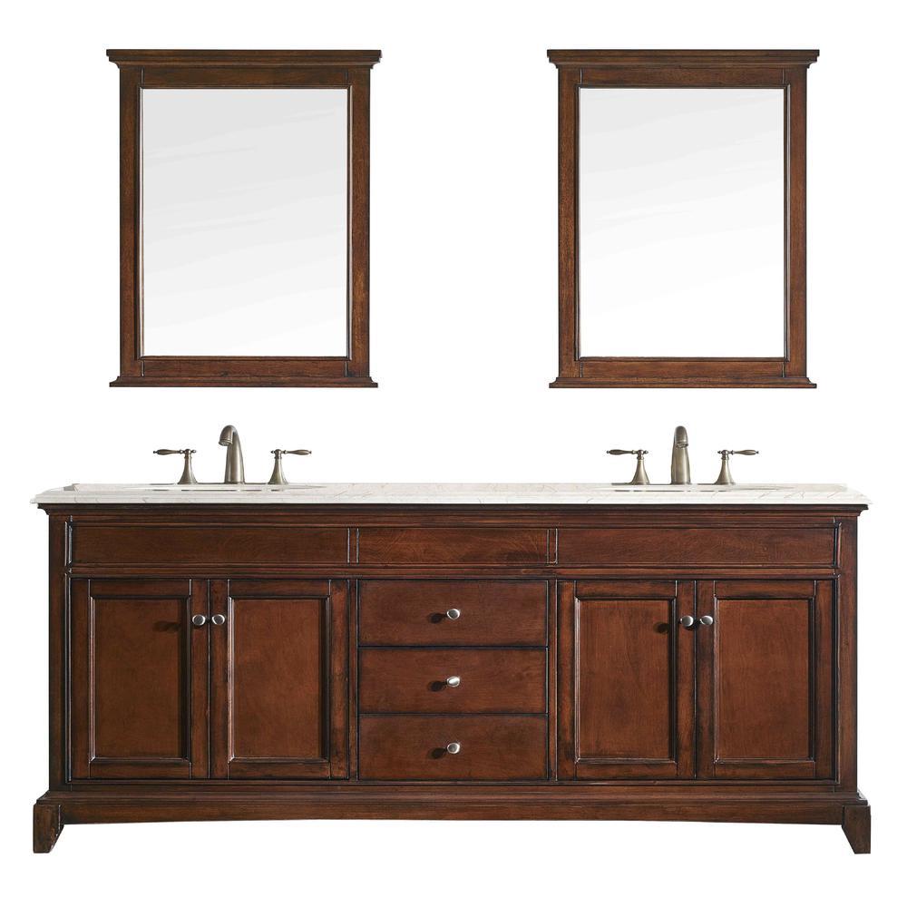 "Elite Stamford 60"" Teak Double Sink Bathroom Vanity w/ Double Ogee Edge Crema Marfil Top. Picture 1"