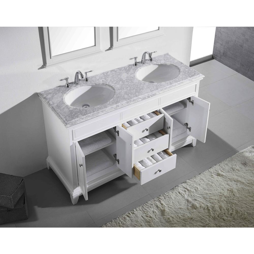 "Elite Stamford 72"" White Double Sink Bathroom Vanity w/ Double Ogee Edge White Carrara Top. Picture 3"