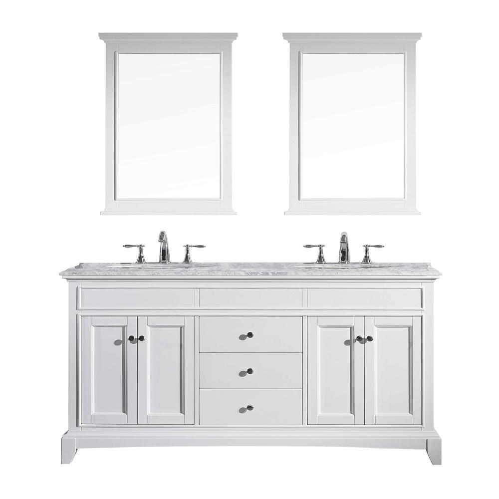 "Elite Stamford 72"" White Double Sink Bathroom Vanity w/ Double Ogee Edge White Carrara Top. Picture 1"