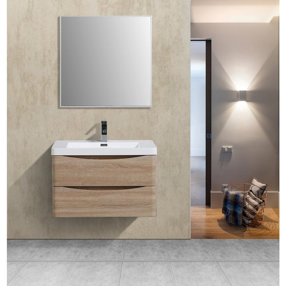 """Smile 30"""" White Oak Wall Mount Modern Bathroom Vanity w/ White Integrated Top. Picture 2"""