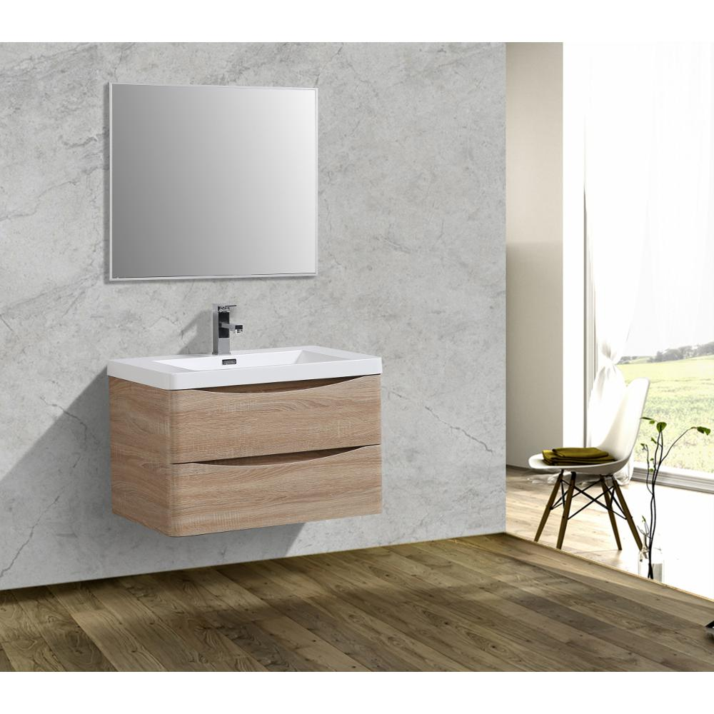 """Smile 30"""" White Oak Wall Mount Modern Bathroom Vanity w/ White Integrated Top. Picture 3"""
