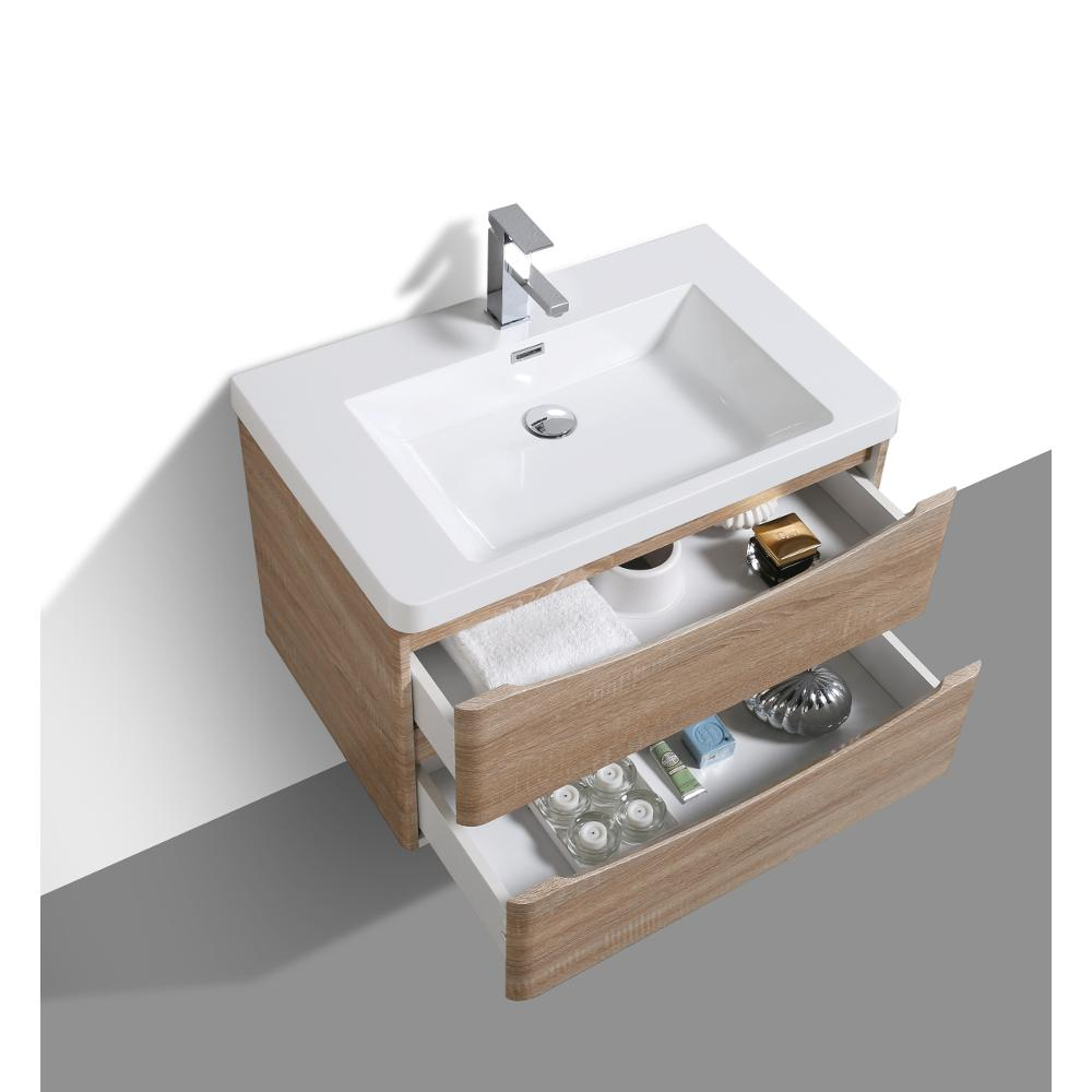 """Smile 30"""" White Oak Wall Mount Modern Bathroom Vanity w/ White Integrated Top. Picture 4"""