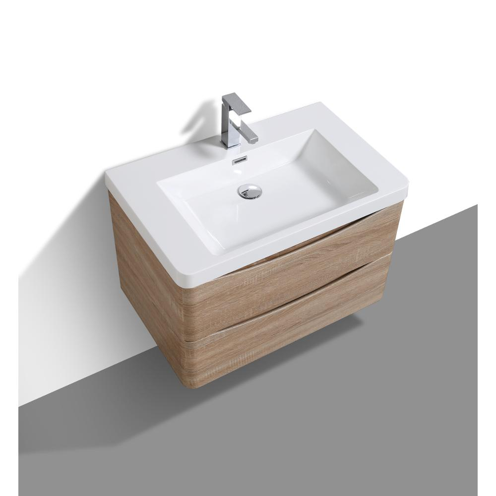 """Smile 30"""" White Oak Wall Mount Modern Bathroom Vanity w/ White Integrated Top. Picture 5"""