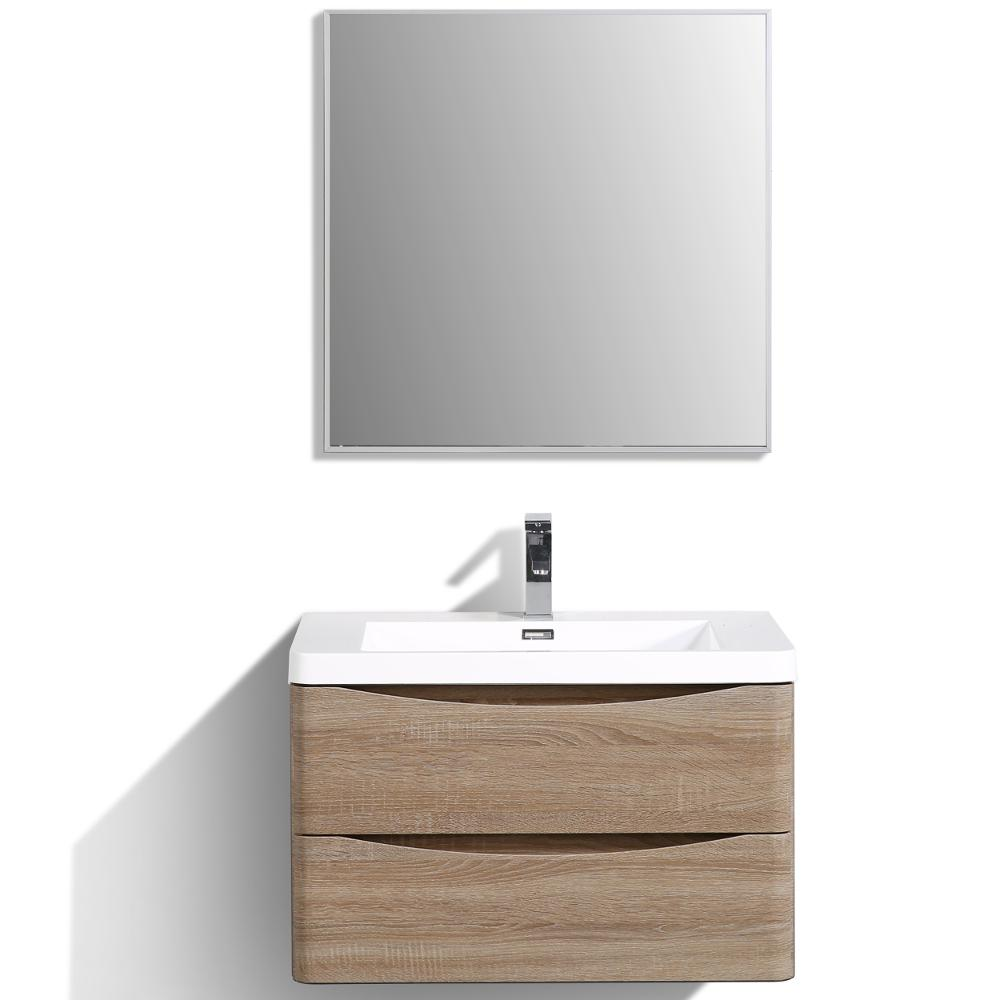 """Smile 30"""" White Oak Wall Mount Modern Bathroom Vanity w/ White Integrated Top. Picture 1"""