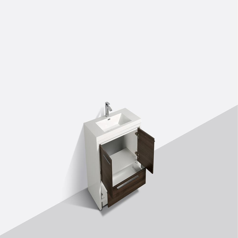 """Grace 30"""" Gray Oak/White Bathroom Vanity w/ White Integrated Top. Picture 4"""