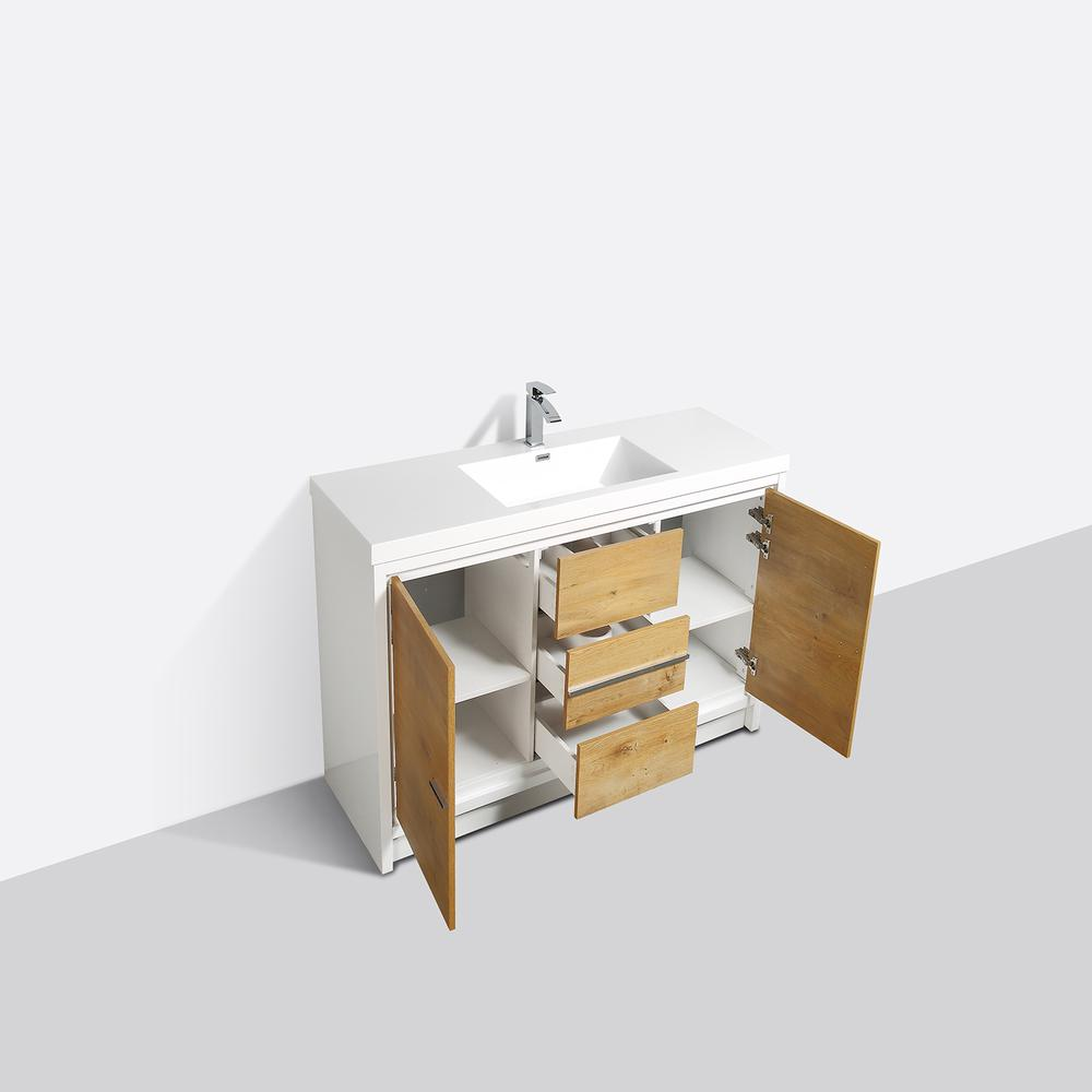 """Grace 60"""" Natural Oak/White Single Sink Bathroom Vanity w/ White Integrated Top. Picture 2"""