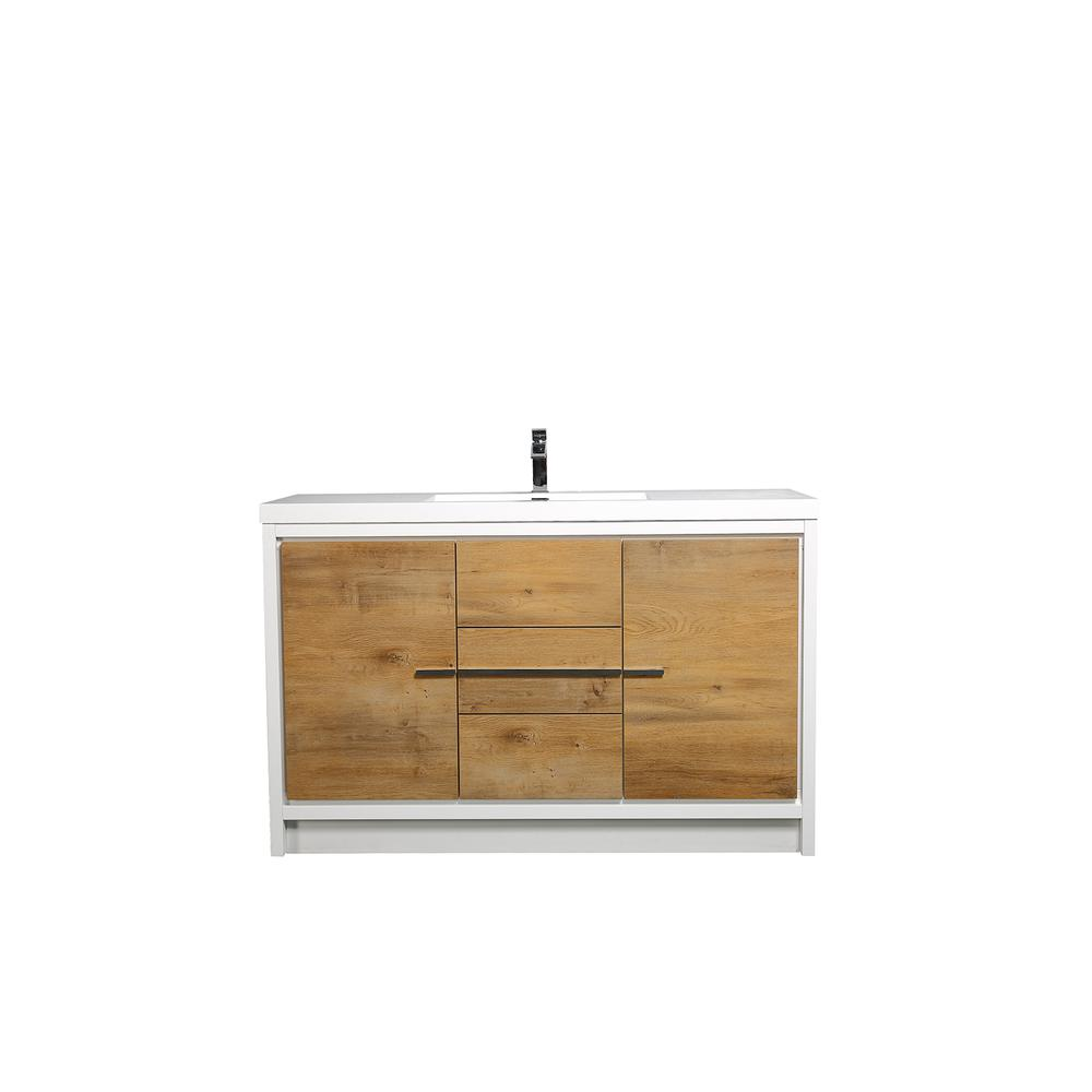 """Grace 60"""" Natural Oak/White Single Sink Bathroom Vanity w/ White Integrated Top. Picture 1"""