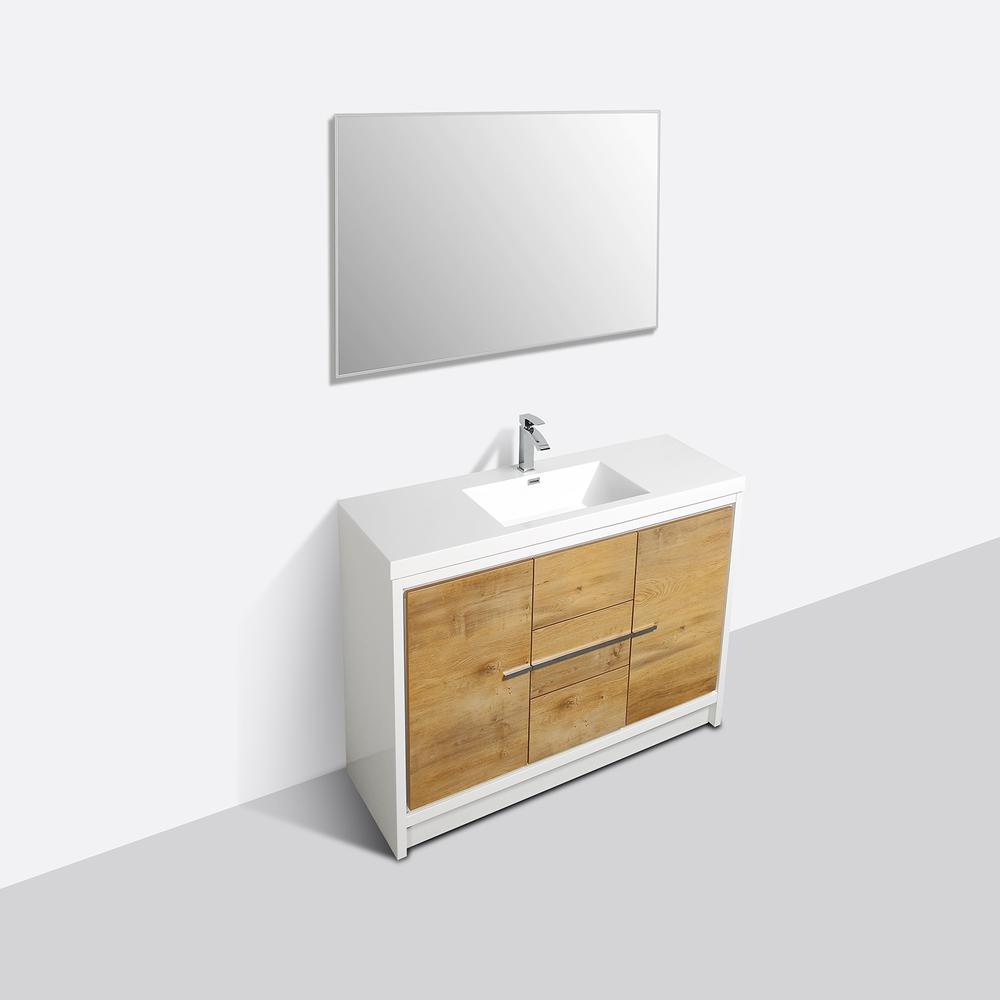 """Grace 60"""" Natural Oak/White Single Sink Bathroom Vanity w/ White Integrated Top. Picture 3"""