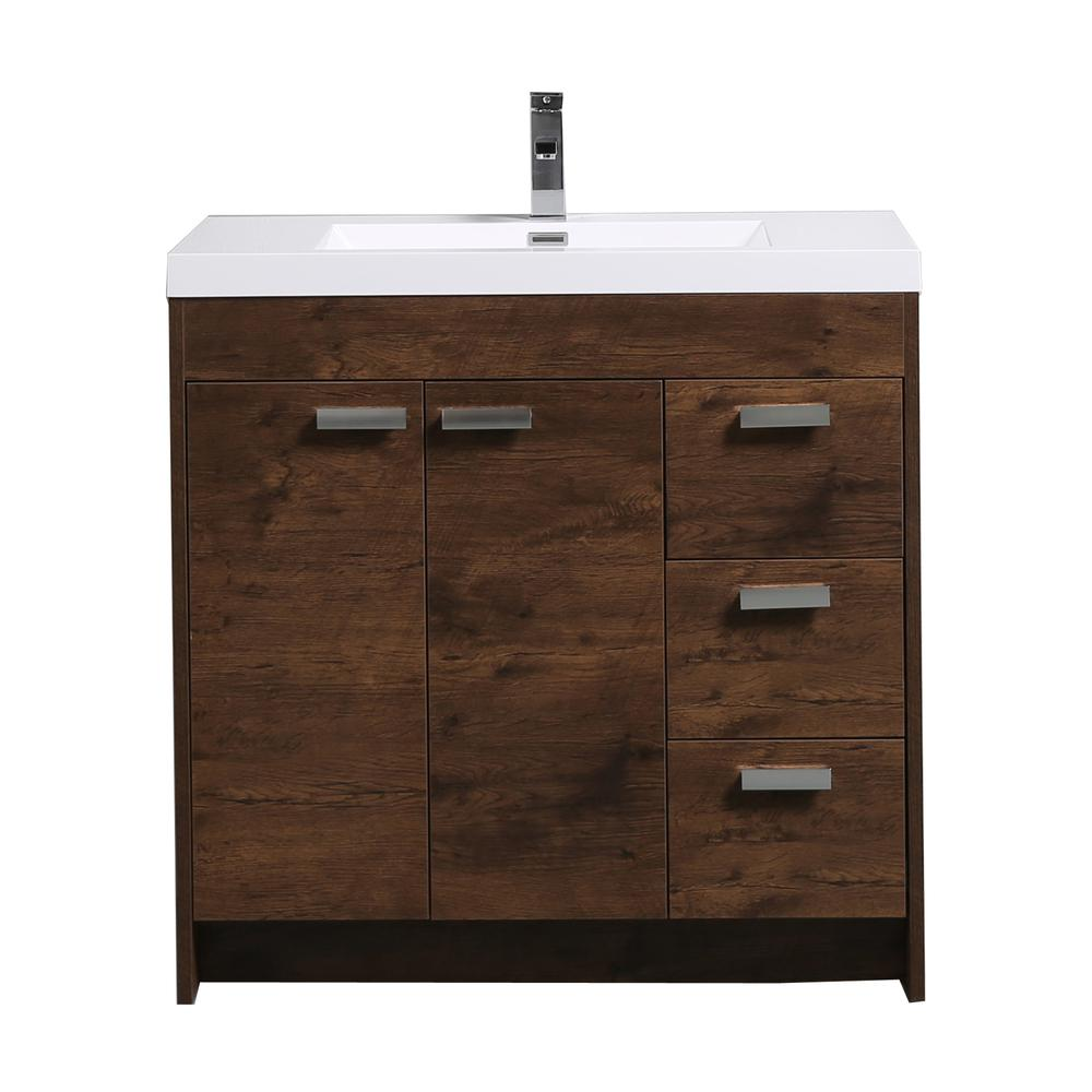 "Lugano 36"" Rosewood Modern Bathroom Vanity w/ White Integrated Top. Picture 1"