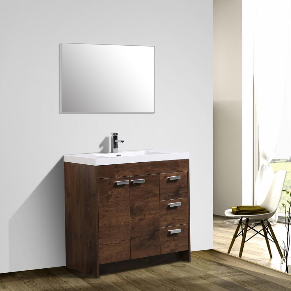 "Lugano 36"" Rosewood Modern Bathroom Vanity w/ White Integrated Top. Picture 3"