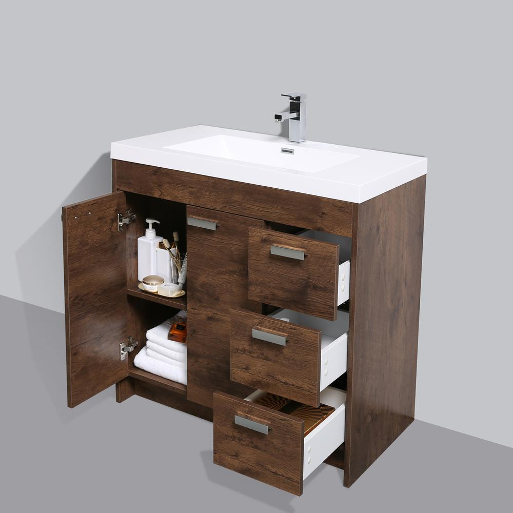 "Lugano 36"" Rosewood Modern Bathroom Vanity w/ White Integrated Top. Picture 5"