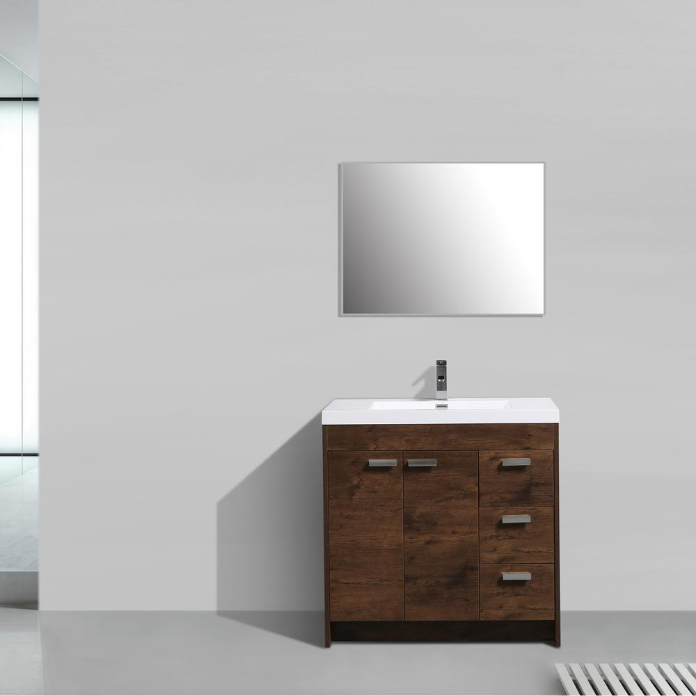 "Lugano 36"" Rosewood Modern Bathroom Vanity w/ White Integrated Top. Picture 2"