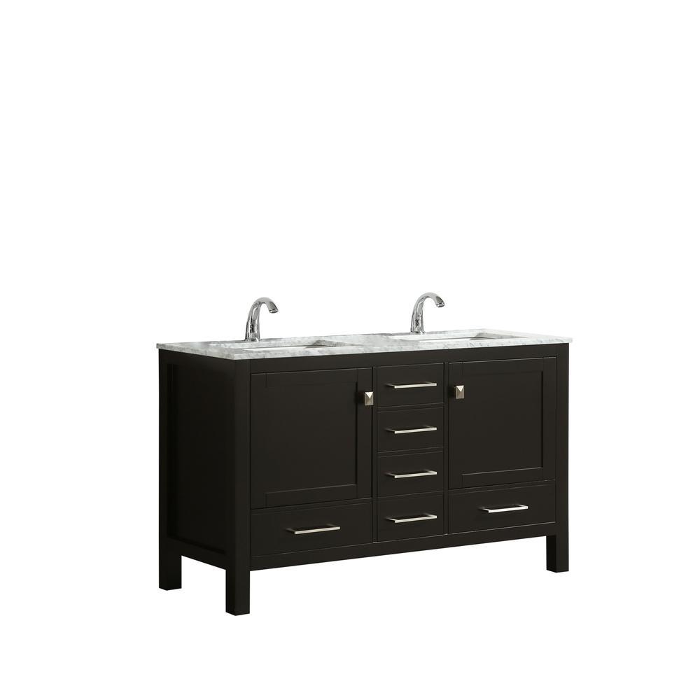 "London 48"" x 18"" Espresso Transitional Double Sink Bathroom Vanity w/ White Carrara Top. Picture 2"
