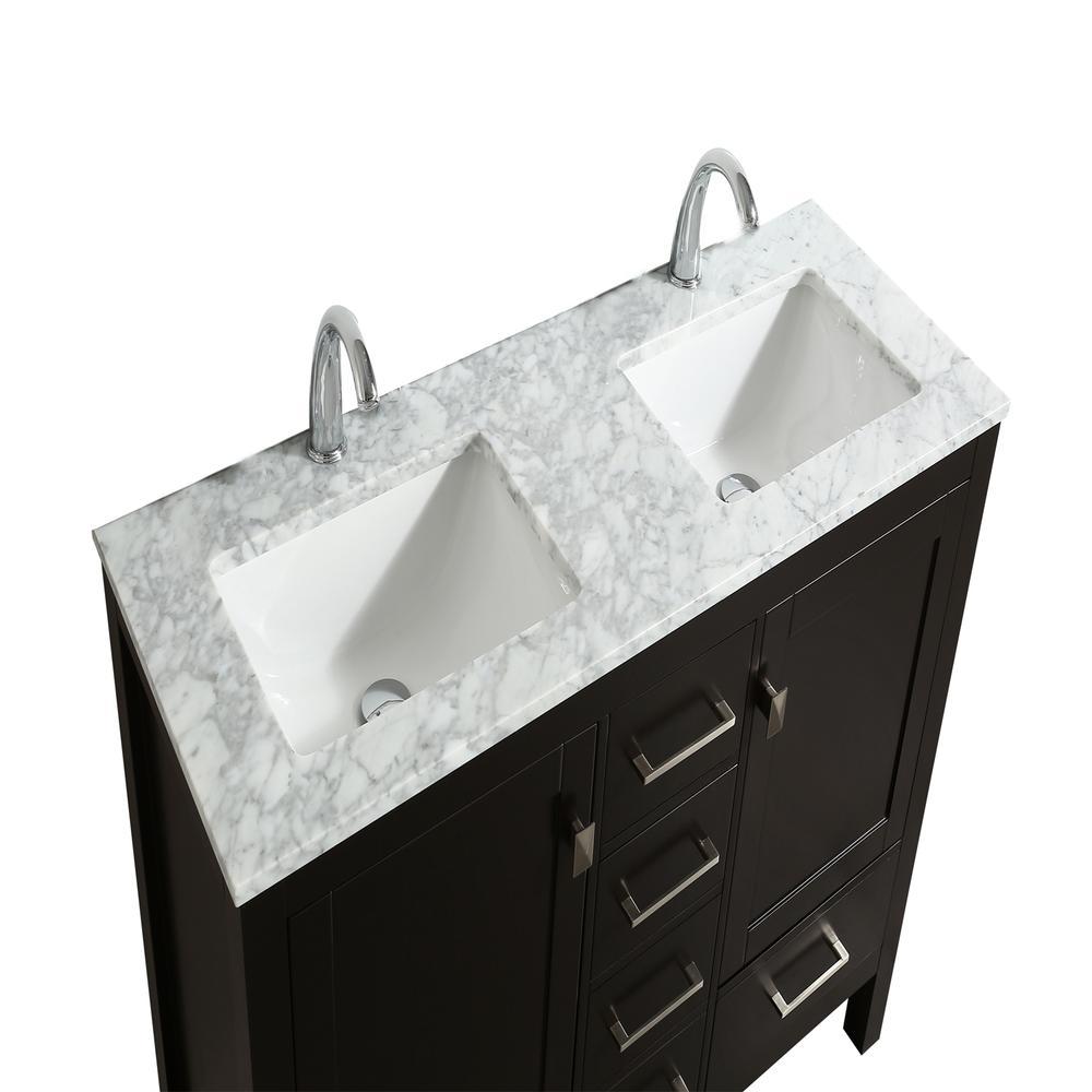 "London 48"" x 18"" Espresso Transitional Double Sink Bathroom Vanity w/ White Carrara Top. Picture 3"