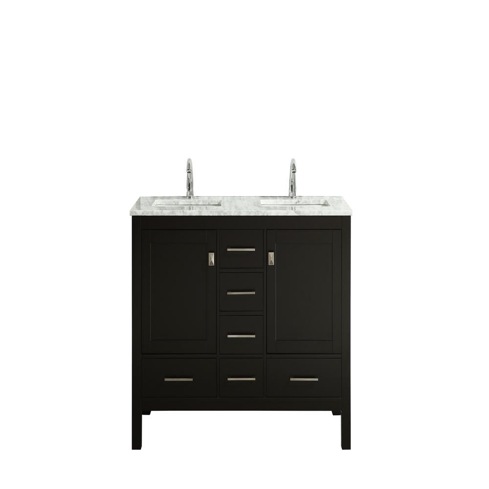 "London 48"" x 18"" Espresso Transitional Double Sink Bathroom Vanity w/ White Carrara Top. Picture 1"