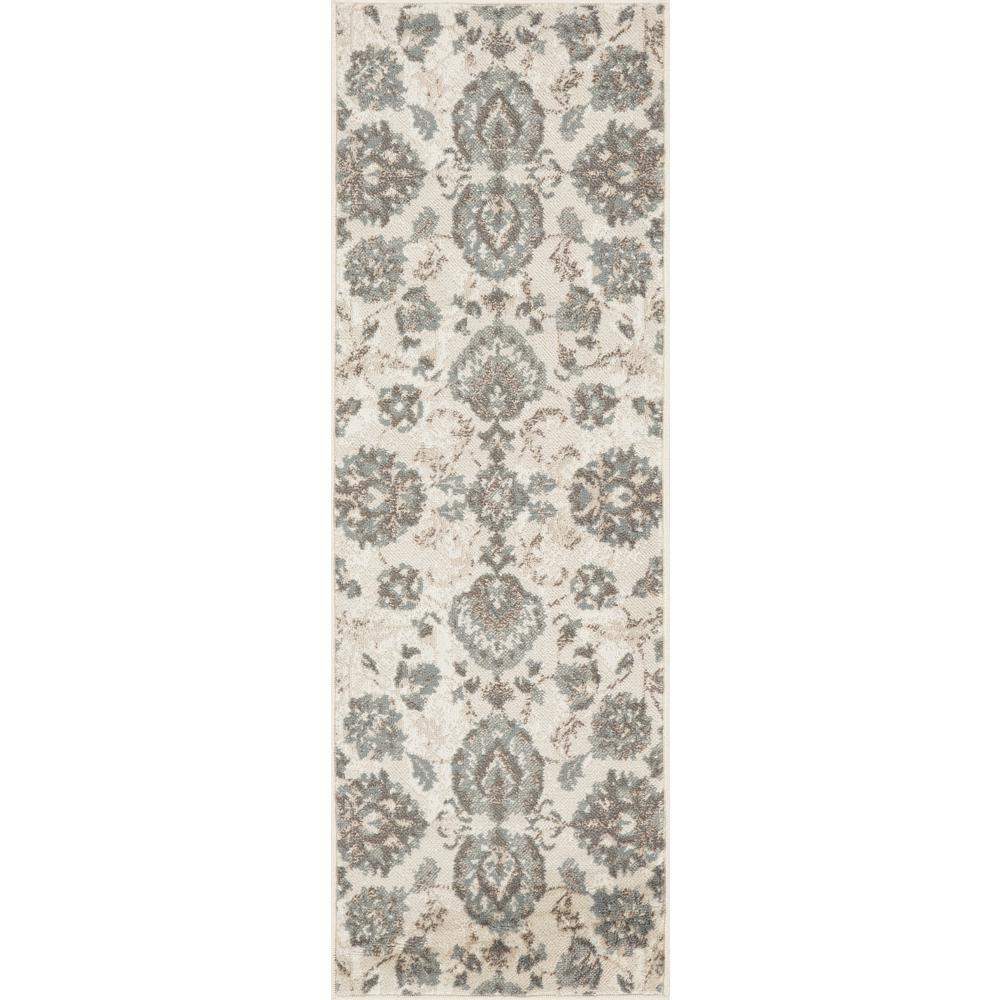 L'Baiet Emery Grey Floral 2' x 6' Rug. Picture 2