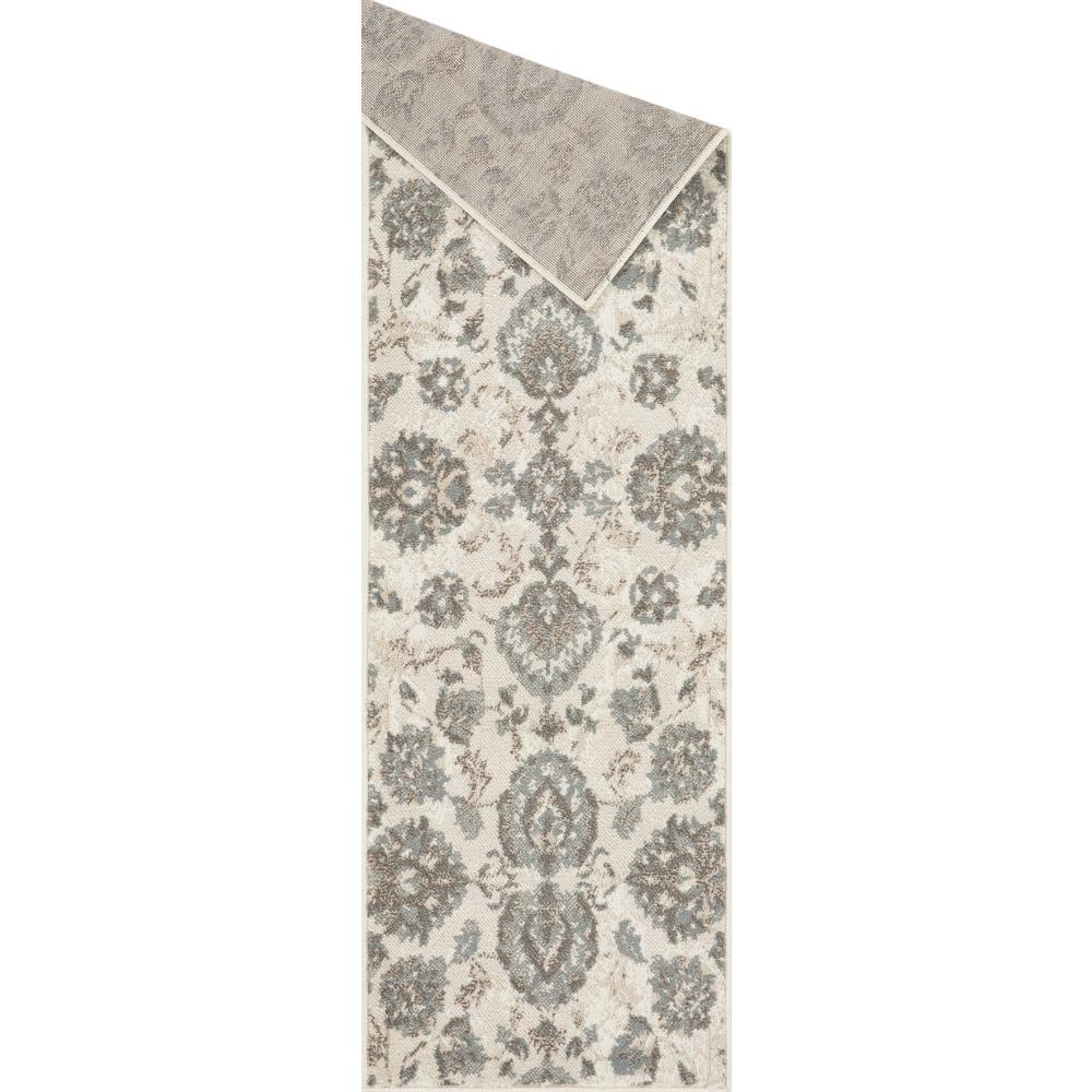 L'Baiet Emery Grey Floral 2' x 6' Rug. Picture 3