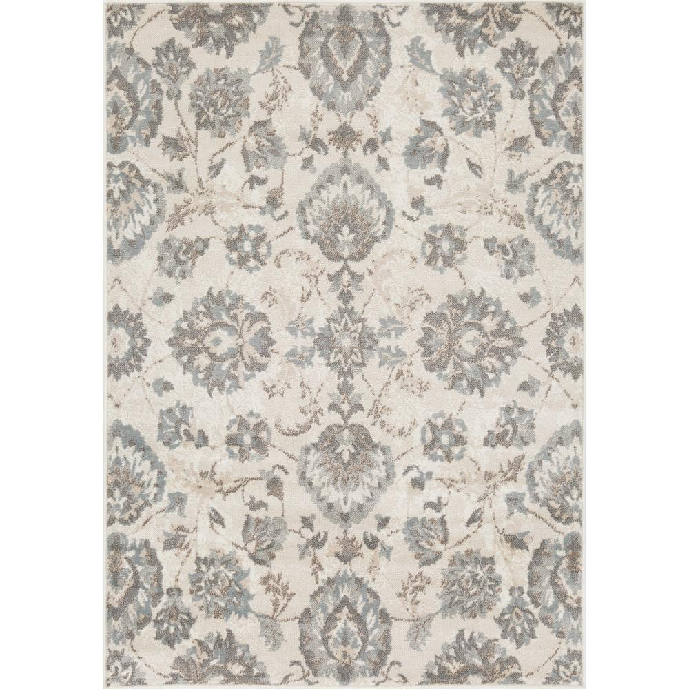 L'Baiet Emery Grey Floral 4' x 6' Rug. The main picture.