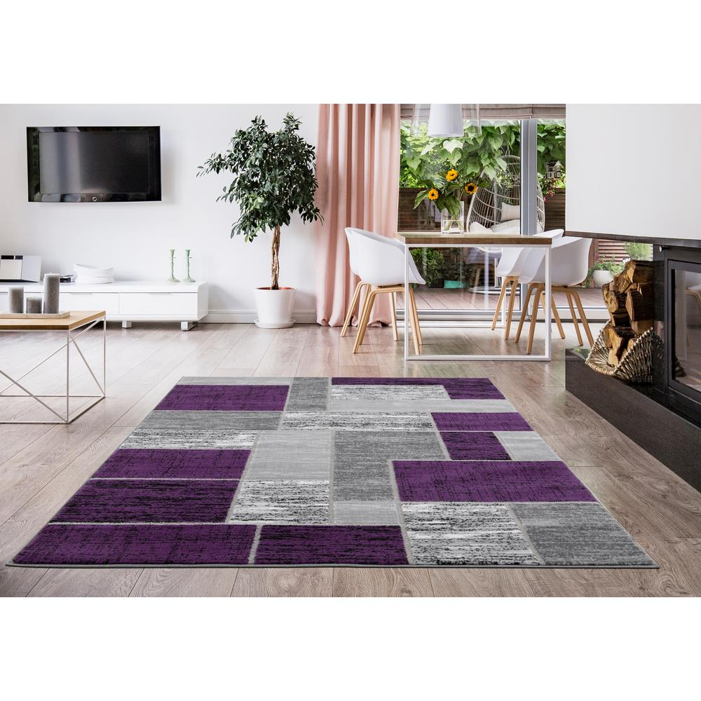 L'Baiet Verena Purple Geometric 2' x 3' Rug. Picture 2