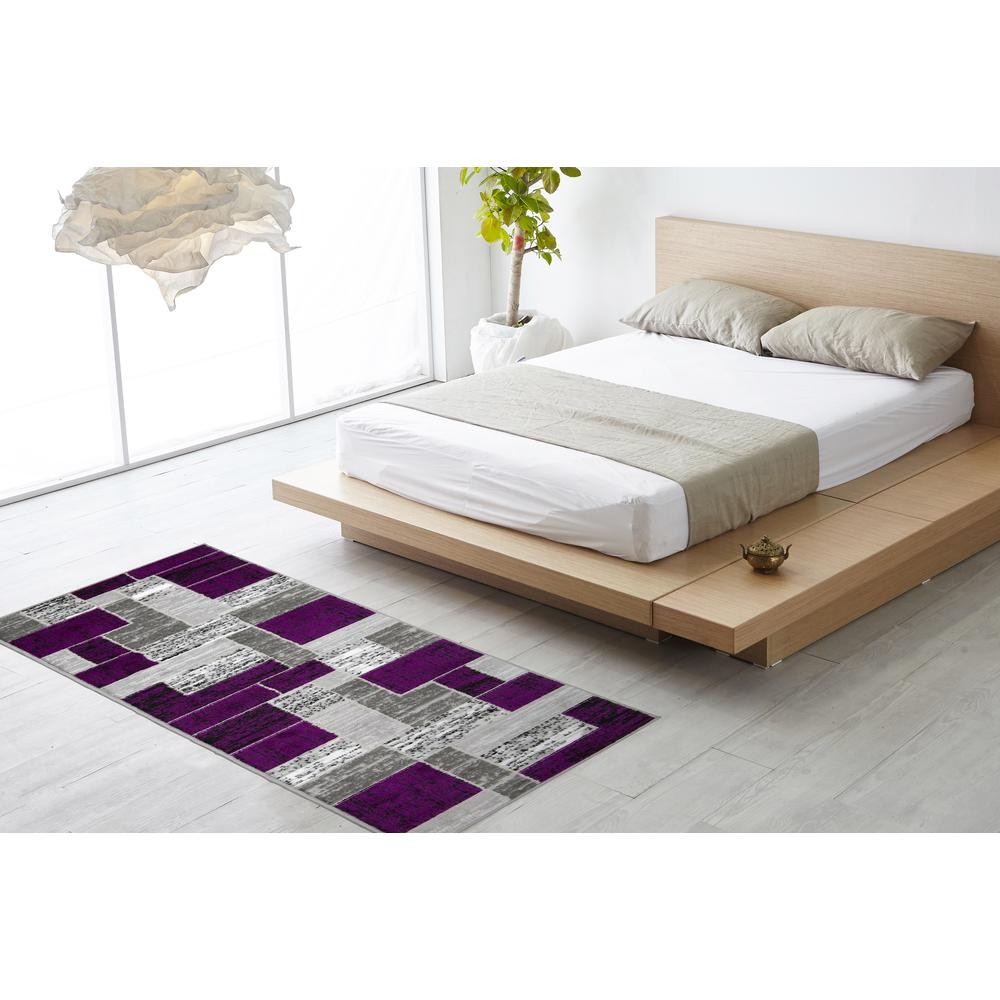 L'Baiet Verena Purple Geometric 2' x 3' Rug. Picture 3
