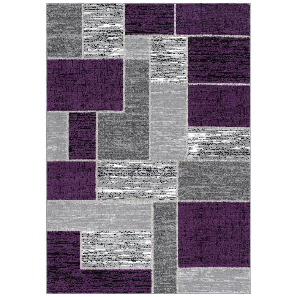 L'Baiet Verena Purple Geometric 2' x 3' Rug. Picture 1
