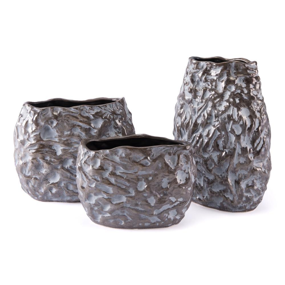 Sm Vase Metallic Brown & White. Picture 1