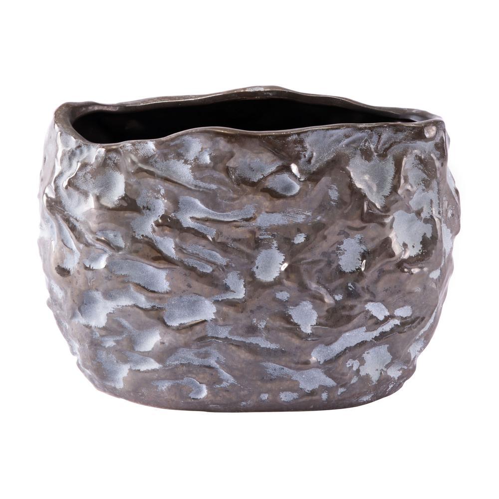 Sm Vase Metallic Brown & White. Picture 4