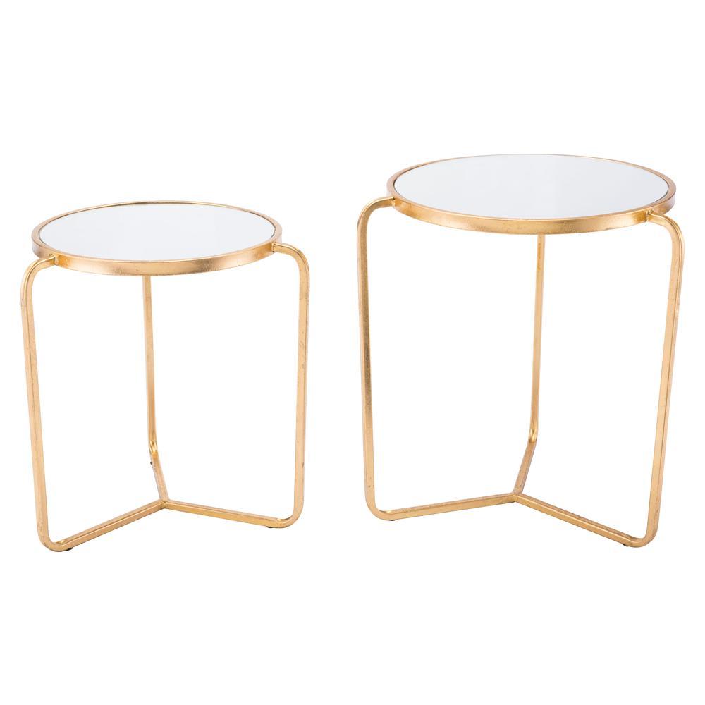 Set Of 2 Tripod Tables Gold