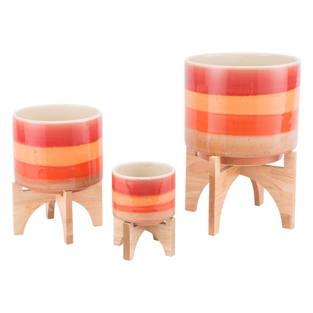 Orange Stripes Planter Sm Orange