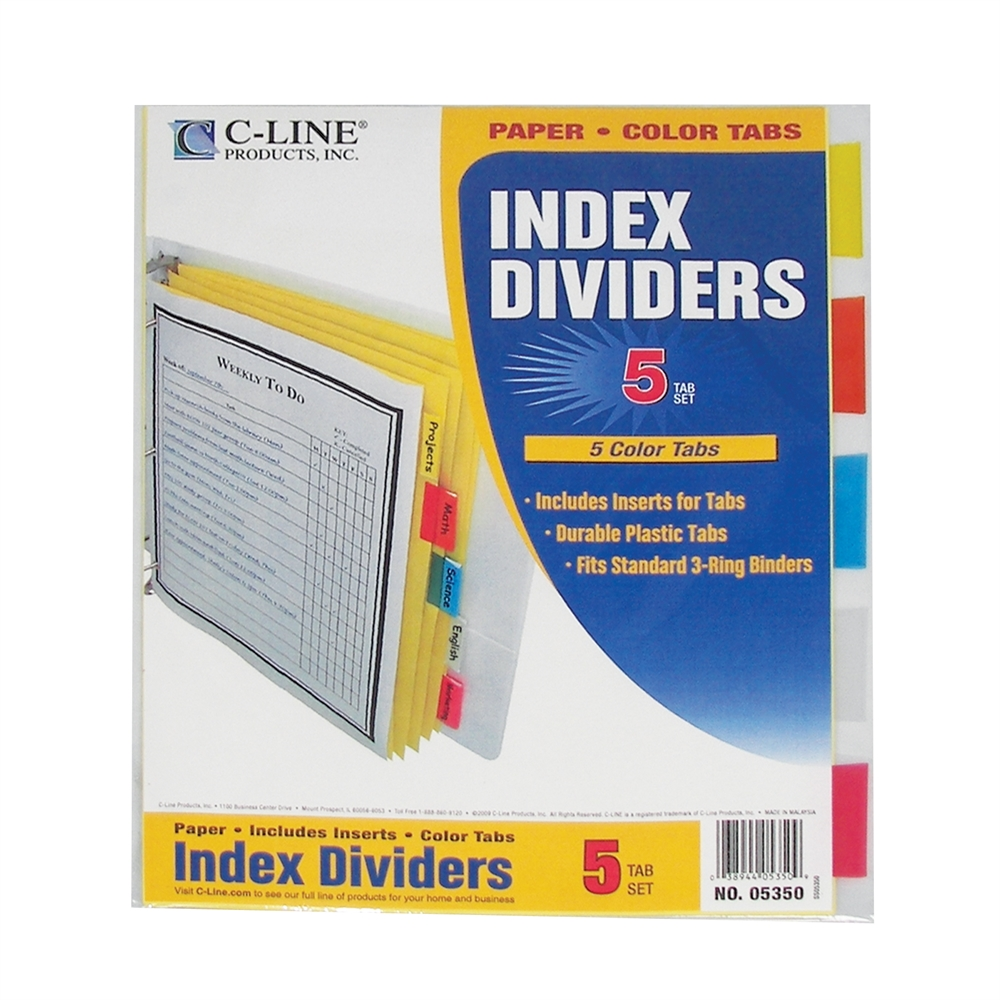 5 Tab Paper Index Dividers Clear Tabs 5 Pk Set Of 36 Pk