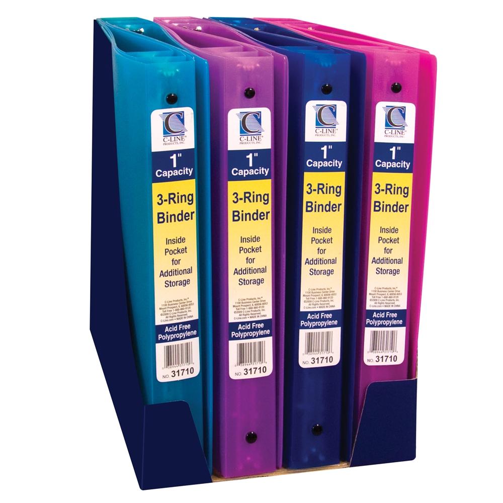 3-Ring Poly Binder, 1 Inch Capacity, 1 Binder (Color May