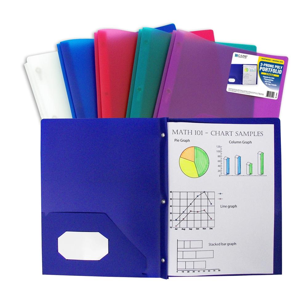 Two-Pocket Heavyweight Poly Portfolio Folder With Prongs