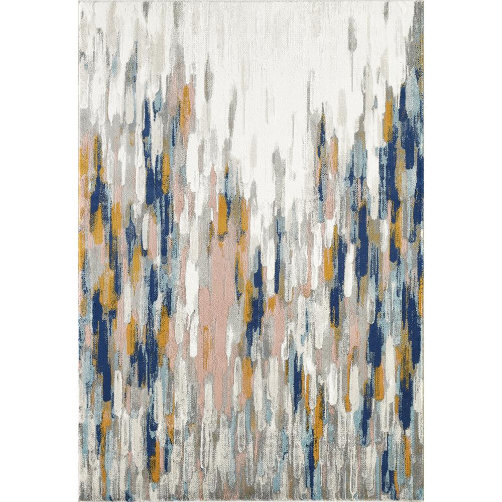 Abani Porto PRT140A Contemporary Orange and Blue Abstract Area Rug  - 2 x 3. Picture 1