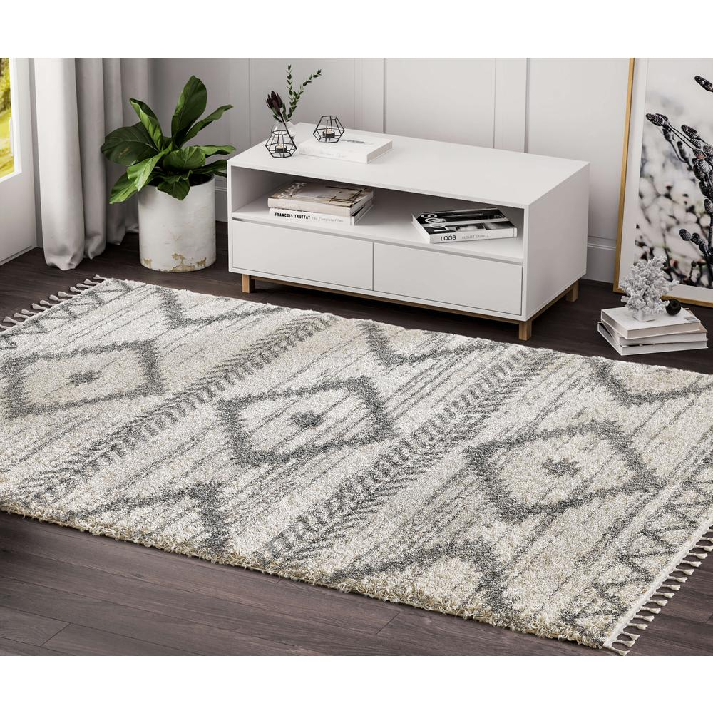 Abani Willow WIL110A Bohemian Geometric Ivory and Grey Area Rug - 3 x 5. Picture 5