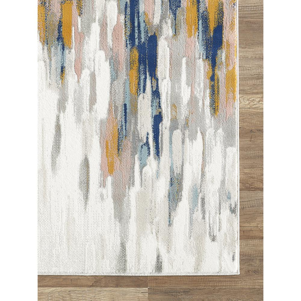 Abani Porto PRT140A Contemporary Orange and Blue Abstract Area Rug  - 2 x 3. Picture 2