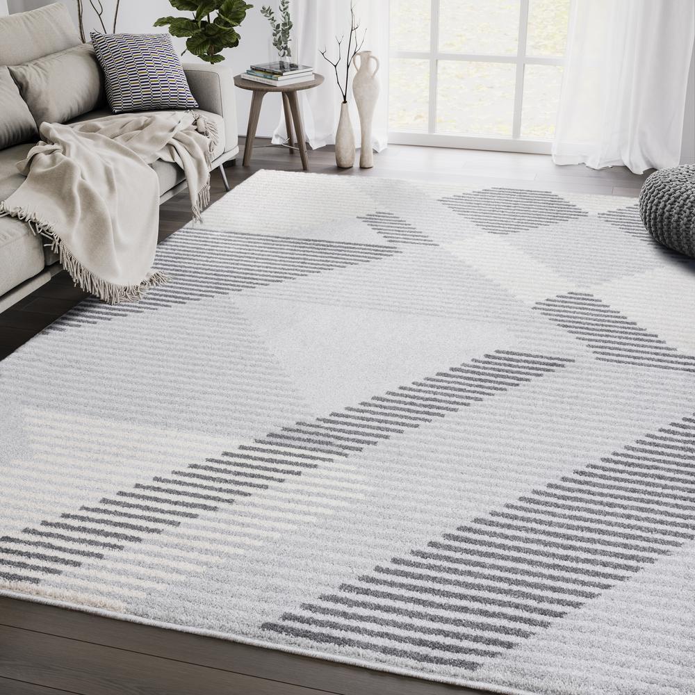 Abani Quartz QRZ150A Shades of Grey Beige Geometric Striped Area Rug - 6 x 9. Picture 5