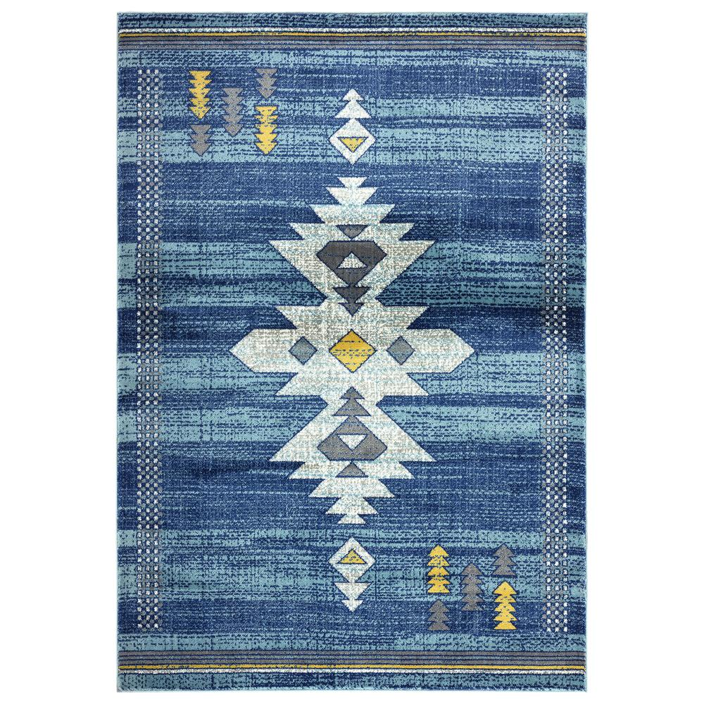 Abani Porto PRT110B Southwestern Tribal Print Blue and Yellow Area Rug - 4 x 6. Picture 1