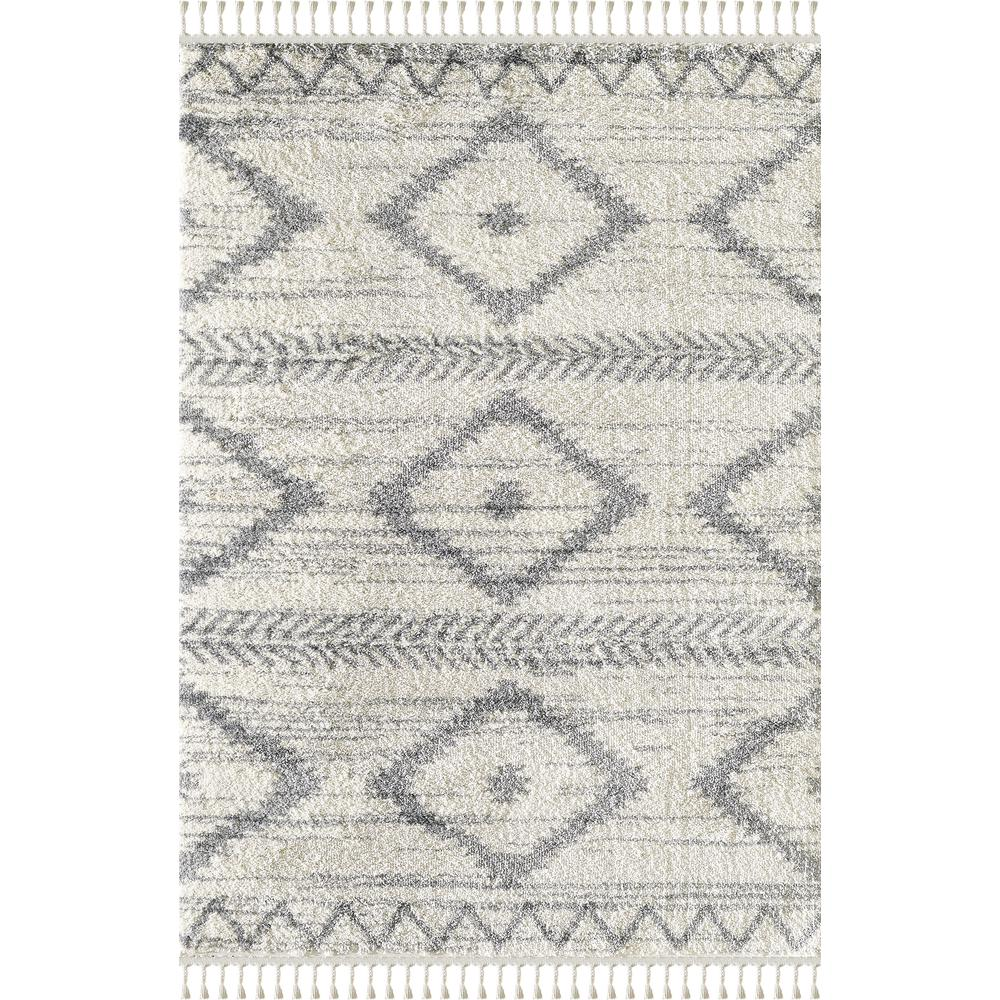 Abani Willow WIL110A Bohemian Geometric Ivory and Grey Area Rug - 3 x 5. Picture 1