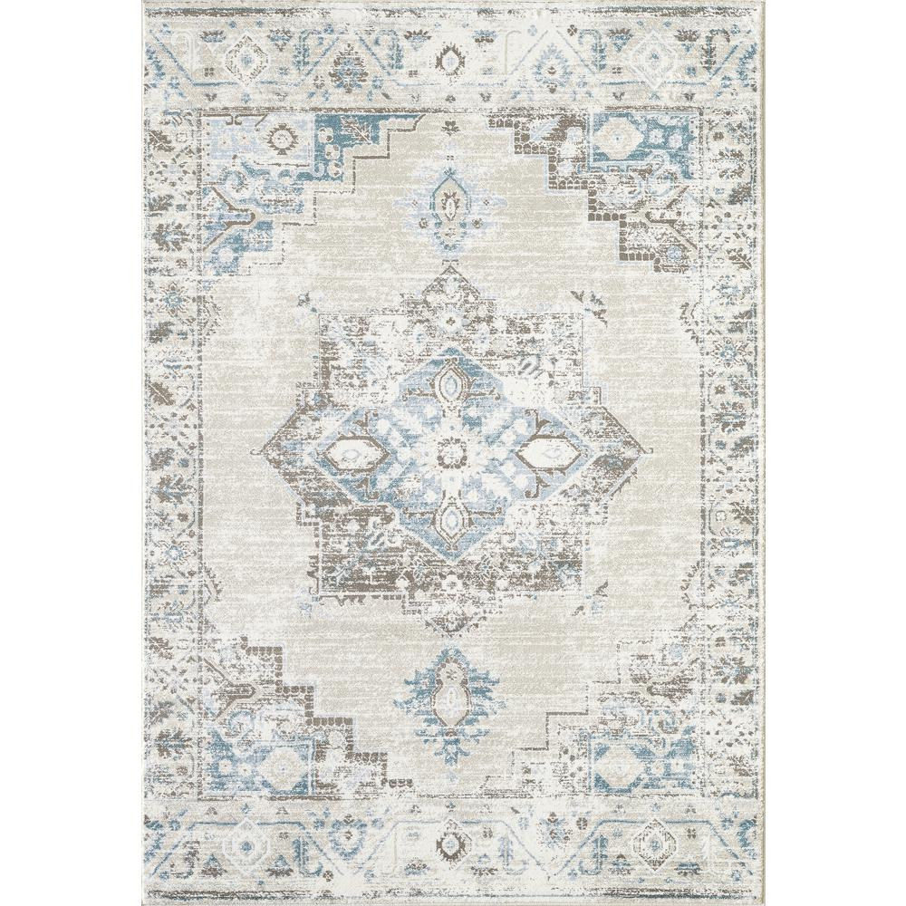 Abani Urbana URB120A Traditional Distressed Ivory and Light Blue Area Rug - 4 x 6. Picture 1