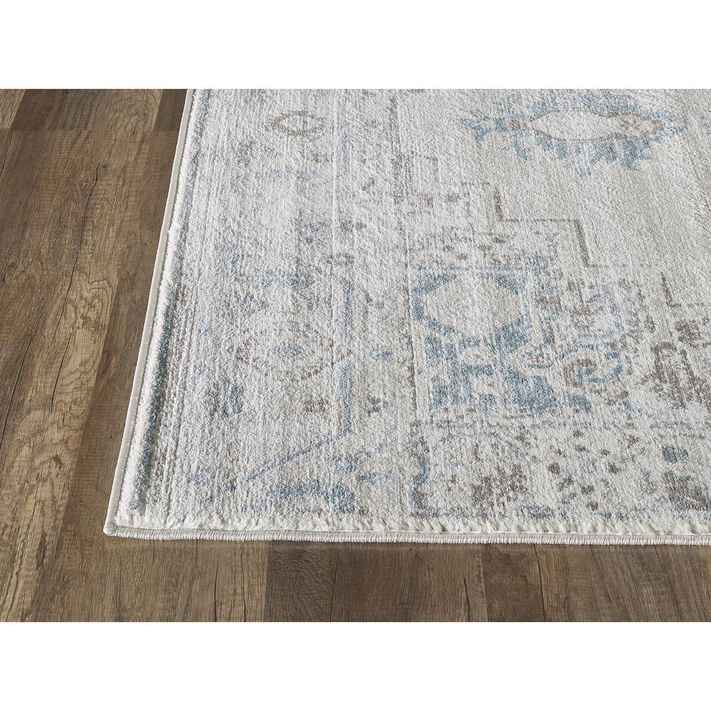 Abani Urbana URB120A Traditional Distressed Ivory and Light Blue Area Rug - 4 x 6. Picture 4