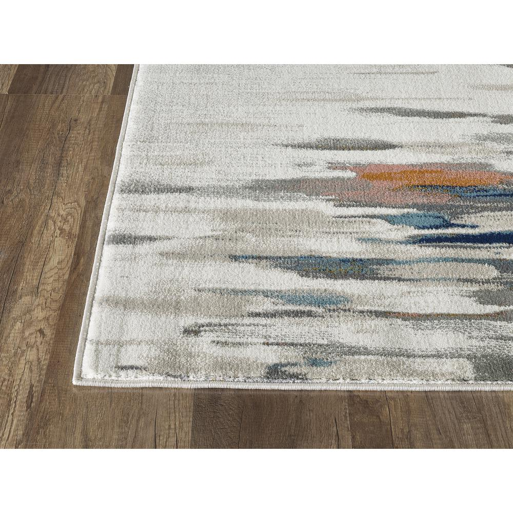 Abani Porto PRT140A Contemporary Orange and Blue Abstract Area Rug  - 2 x 3. Picture 4