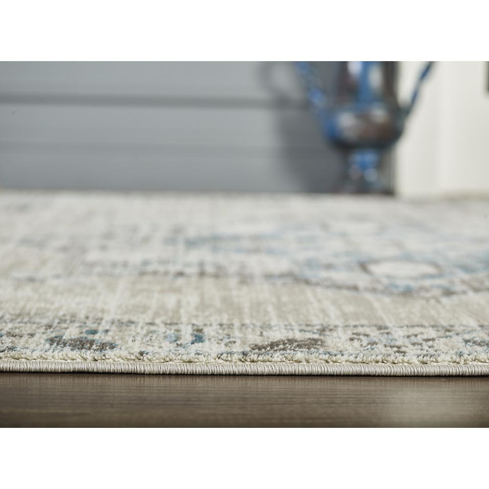 Abani Urbana URB120A Traditional Distressed Ivory and Light Blue Area Rug - 4 x 6. Picture 7