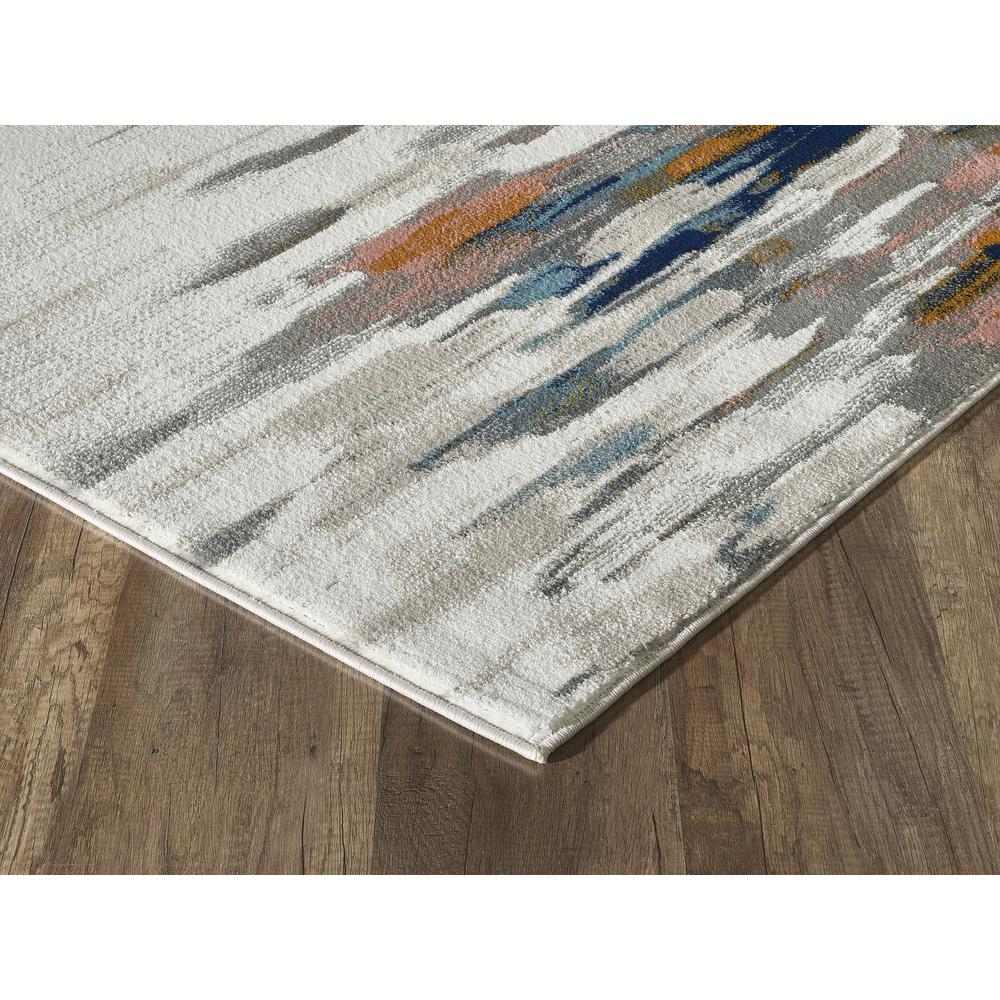 Abani Porto PRT140A Contemporary Orange and Blue Abstract Area Rug  - 2 x 3. Picture 3