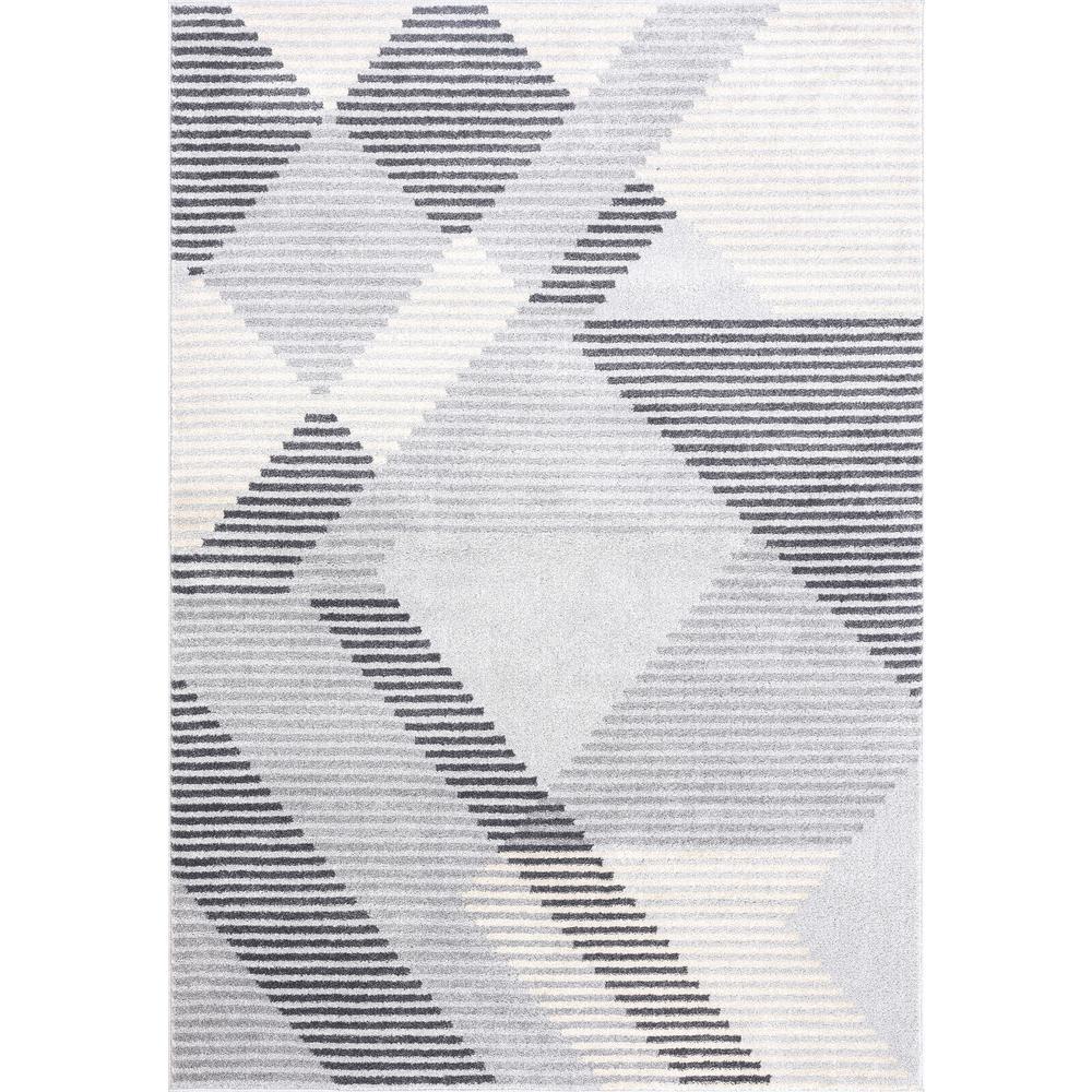 Abani Quartz QRZ150A Shades of Grey Beige Geometric Striped Area Rug - 6 x 9. Picture 1
