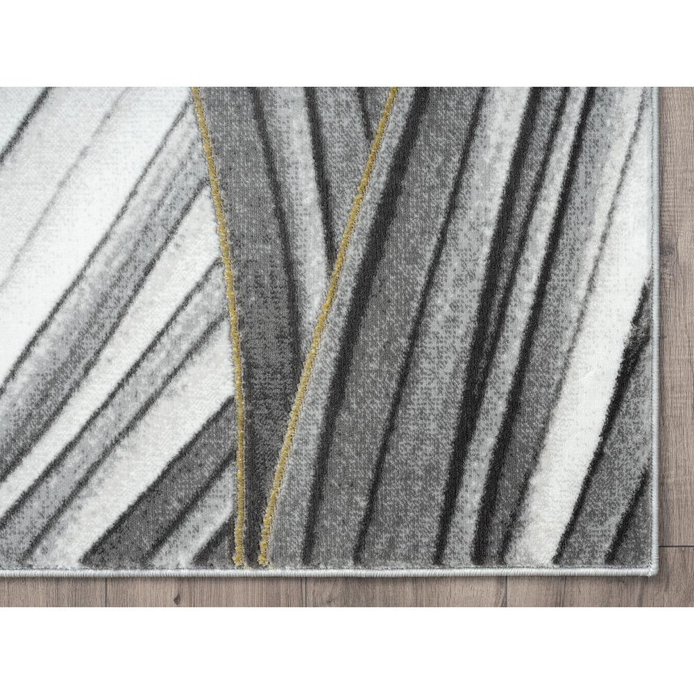 Abani Luna LUN210A Contemporary Grey and Gold Wavy Area Rug - 6 x 9. Picture 2