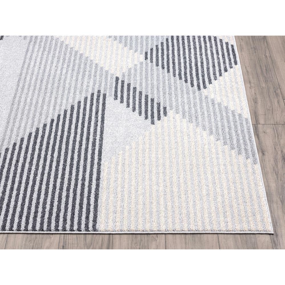 Abani Quartz QRZ150A Shades of Grey Beige Geometric Striped Area Rug - 6 x 9. Picture 3