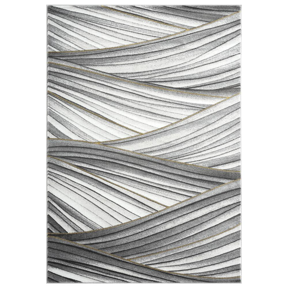 Abani Luna LUN210A Contemporary Grey and Gold Wavy Area Rug - 6 x 9. Picture 1