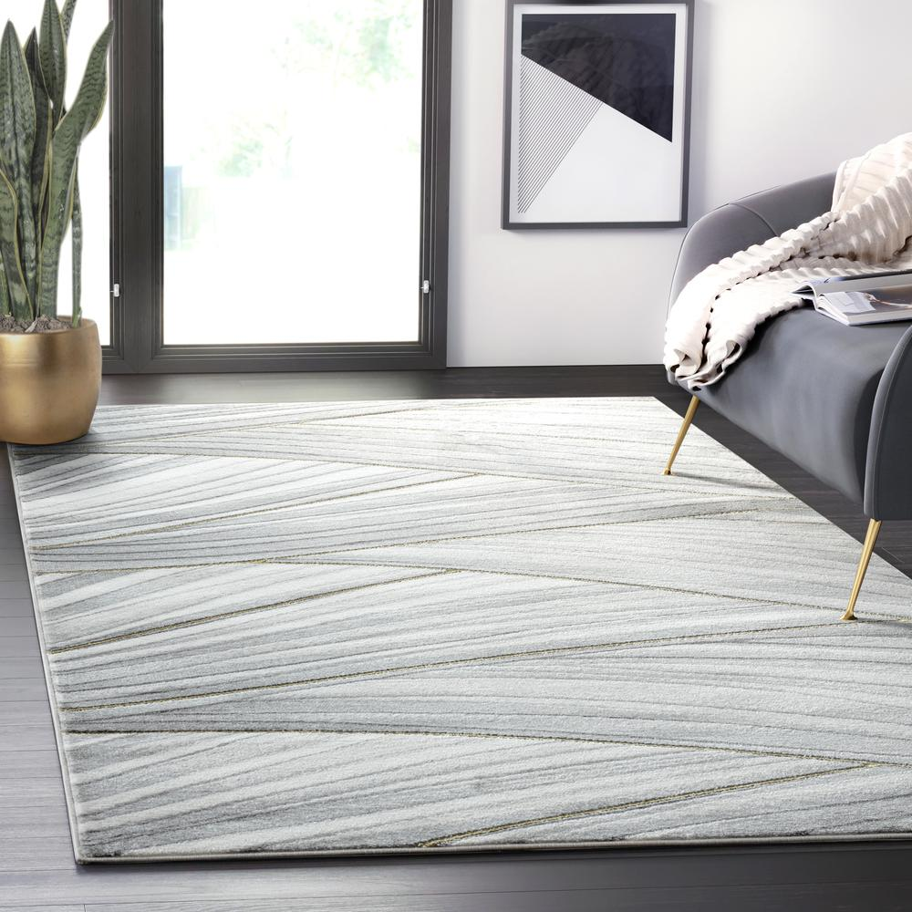 Abani Luna LUN210A Contemporary Grey and Gold Wavy Area Rug - 6 x 9. Picture 5